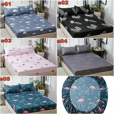 Leaf Wrap Around Elastic Fitted Sheet Flamingo Pillowcases Queen/King Size Bed