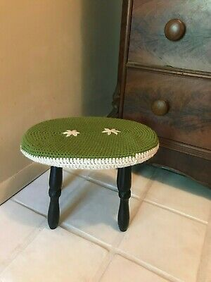 Vintage Wood Foot Stool Ottoman Removable Knitted Top Green Flowers