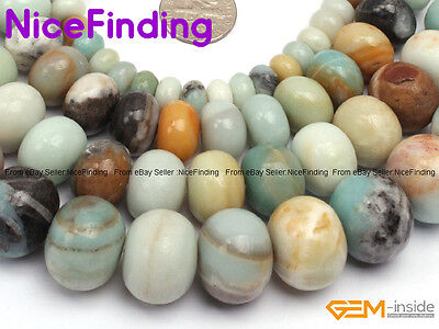 """Natural Rondelle Mixed Color Amazonite Spacer Stone Beads For Jewelry Making 15"""""""