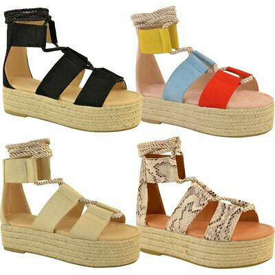 Womens Ladies Flatforms Wedge Sandals Flat Lace Up Wide Strap Summer Espadrilles