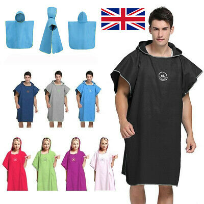 UK Adult Kids Changing Robe Bath Towel Outdoor Hooded Beach Swin Poncho Bathrobe