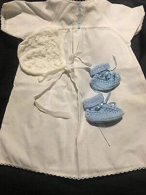 Vintage White Blue Doll Gown Bonnet And Shoes