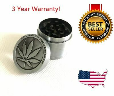 4 Piece Herb Grinder Spice Tobacco/Weed Smoke Zinc Alloy Crusher Leaf Design