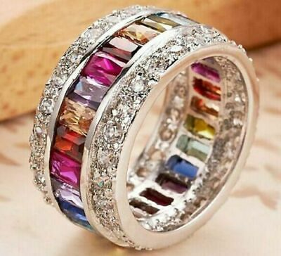 Fashion Gem Ring Silver Plated Multi-Color Sapphire Women Bridal Jewelry Sz 5-12