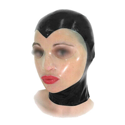 Latex Maske Rubber Gummi Black transparent Mask Fashion Hood Sexy 0.4mm S-XXL