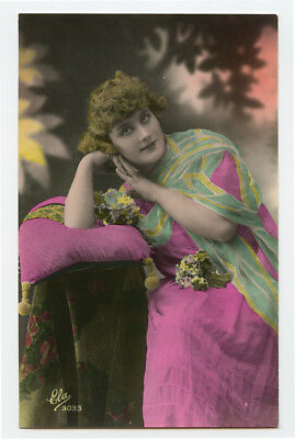 1920s French Glamour PRETTY LADY Curly Haired Lady woman photo postcard