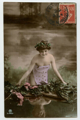 c 1908 Risque n/ Nude WATER NYMPH Cutie Beauty photo postcard