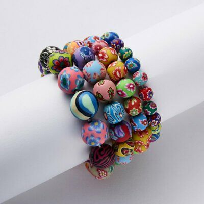 8-14mm Colorfull Painted Flowers Soft Clay Beads Elastic Rope Bracelet Women