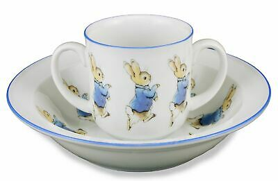 Peter Rabbit - 2pc Porcelain Dining Set -2 Handled Mug & Bowl-Reutter Porzellan