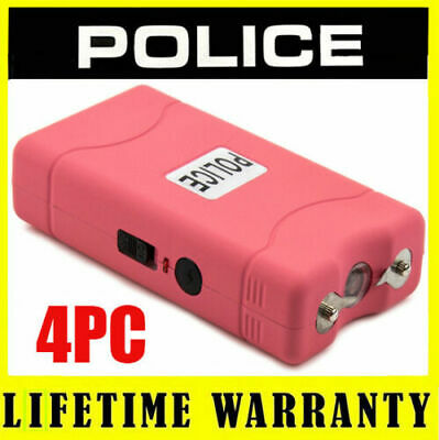 (4) POLICE PINK 800 Mini Stun Gun Self Defense Wholesale Lot