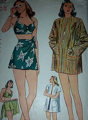 VTG Sewing Pattern SIMPLICITY 1302 Yr1940s B=30   **BATHING SUIT & BEACH COAT**