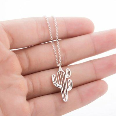 Boho Hollow Cactus Necklaces Pendants Women Natural Plant Jewelry Chain Choker