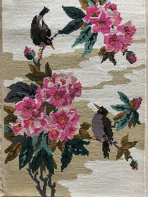 Pretty Vintage Hand Done Penelope Tapestry Chinese Panel