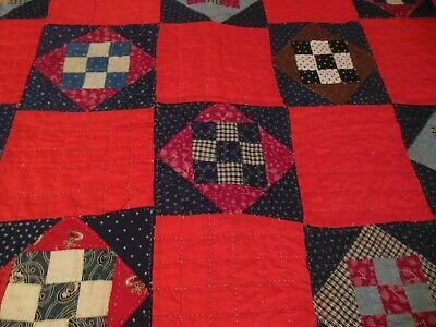 Vintage Hand Quilted Nice Old Blocks Refurbished Solids & Backing Full Quilt