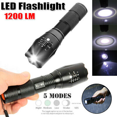 Outdoor Tactical Torch Camping LED Light Rechargeable Flashlight 18650 Battery