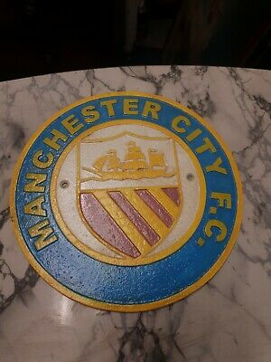 Vintage Style Manchester City FC Man City Football Heavy Cast Iron Plaque Badge