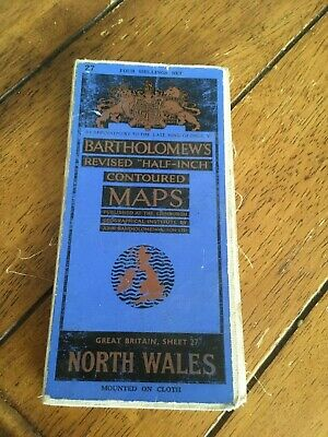 Vintage Bartholomew's Half Inch Contoured Cloth Map No 27 North Wales Wallpaper
