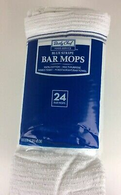 """New Pack Of 24 Daily Chef Blue Stripe Bar Mops 16"""" x 19"""""""