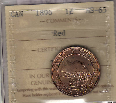 1896 Canada Large Cent Coin. 1 Penny RED UNC ICCS MS-65