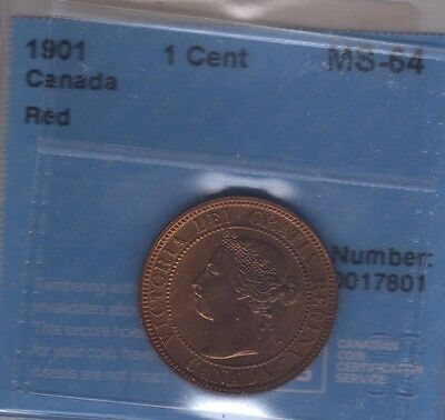 1901 Canada Large Cent Coin. 1 PENNY RED UNC CCCS MS-64