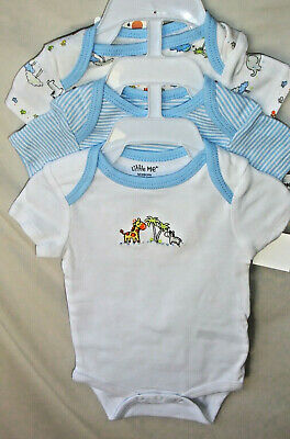 LITTLE ME 100/% COTTON 3 Pack Cuddly BIRD TOILE Bodysuits GIRL SIZE NWT