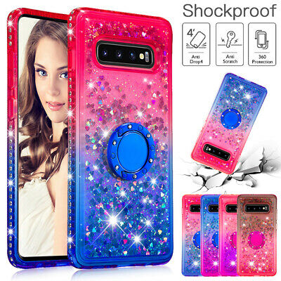 For Samsung Galaxy A70 Case A50 J4 J6 Glitter Soft TPU Ring Holder Stand Cover