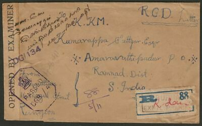 Burma 1945 KGVI MILY ADMIN 2a x2 + 1a Registered Censor Cover EXPERIMENTAL PO 4