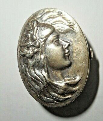 ANTIQUE ART NOUVEAU STERLING SILVER PILL BOX LADY with FLOWING HAIR IN RELIEF