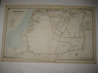 SUPERB VINTAGE ANTIQUE 1917 NORTHPORT South of Main St NEW YORK HANDCOLORED MAP