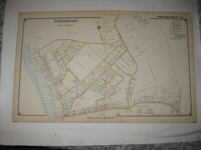 SUPERB VINTAGE ANTIQUE 1917 NORTHPORT North of Main St NEW YORK HANDCOLORED MAP
