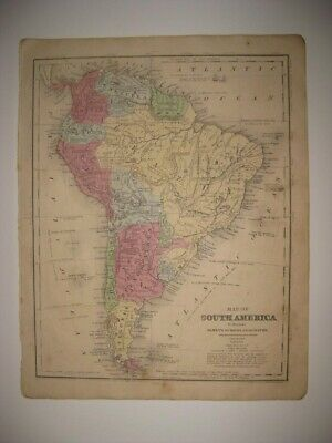 Vintage Antique 1853 South America Handcolored Map Patagonia Brazil Argentina Nr