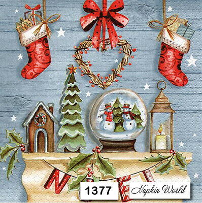 TWO Individual Paper Luncheon Decoupage Napkins CHRISTMAS MOUSE 1486