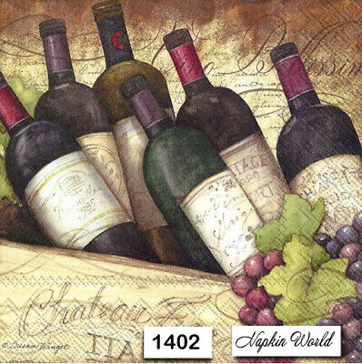 (1402) TWO Individual Paper Luncheon Decoupage Napkins - WINE BOTTLES VINO