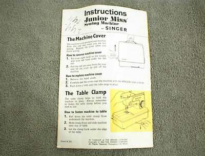 Vintage Singer Junior Miss Sewing Machine Manual Instructions 1973