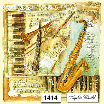 (1414) TWO Individual Paper Luncheon Decoupage Napkins - MUSICAL INSTRUMENTS