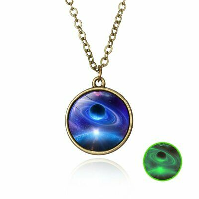Women Universe Nebula Space Round Glass Ball Pendant Glow in the dark Necklace