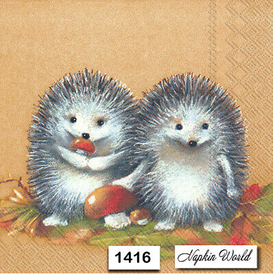 (1416) TWO Individual Paper Luncheon Decoupage Napkins - AUTUMN HEDGEHOGS
