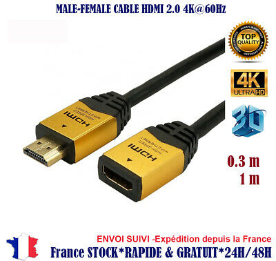 Rallonge Cable hdmi male female 2.0 4K 60Hz ultra HD 3D Full HD HDTV splitter