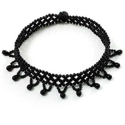 Black Bead Elasticated Stretch Choker Necklace Ladies Women Girls Dress Jewelry