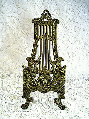"Vintage Ornate Harp Shaped Solid Brass Easel Stand 10"" Tall"