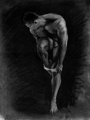 Drawing NUDE male Su o via? Classic 1/37/50 Esteban Pencil Graphite FREE SHIP