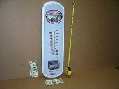 """BATTERY -Thermometer Sign -BIG 27""""Old Gas Station PUMPS & Car -LIMITED EDITION"""