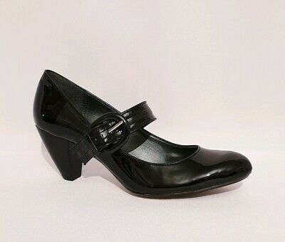 Clarks Black Patent Leather Mary Janes Heels Shoes Womens Uk Size 7 D