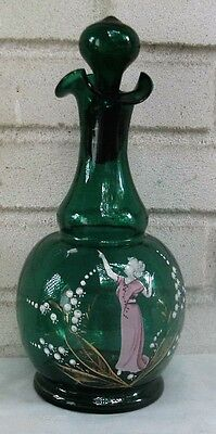 Outstanding Antique Mary Gregory Glass Decanter Great Condition & Gorgeous!