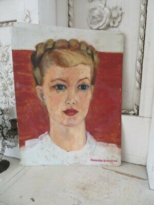 GORGEOUS Vintage PORTRAIT OIL PAINTING Woman on Canvas Mid Century WELL PAINTED