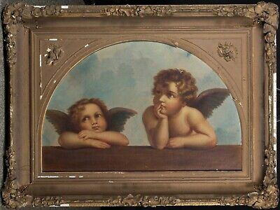 Cherub Putti Angels Italian Master 19th Cent Oil on Canvas Painting Lg Antique