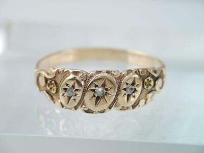 ANTIQUE VICTORIAN SOLID 10K GOLD 3 ROSE CUT DIAMOND BAND RING ORNATE CARVED sz 6
