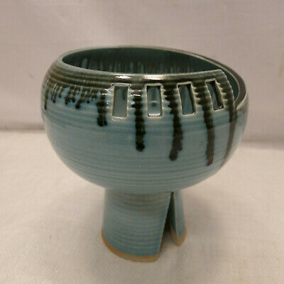 Vintage Handmade Pottery Vase Dripped Glaze Signed Collectable Japanese #16