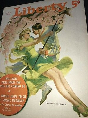 Robert Gittarris Art Cover Only Liberty Magazine  May 1937 Pin Up Girl Man Swing