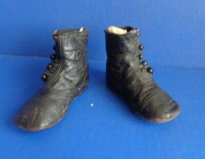 Antique Black Leather Child High Top Shoes- Shoe Button Closure-